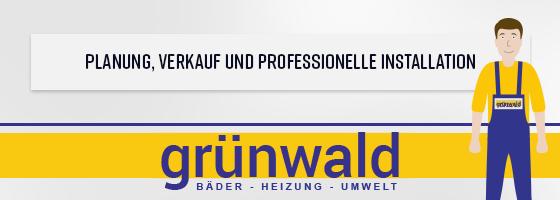 """Eine Werbeanzeige für die Firma Grünwald. Auf ihr ist der Text """"Planung, Verkauf und professionelle Installation"""" zu lesen. Der Hintergrund zeigt das Logo und einen illustrierten Mann in Arbeitskleidung."""