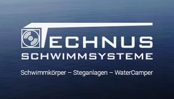 """Eine Werbeanzeige für die Firma Technus. Auf ihr ist der Text """"Schwimmkörper - Steganlage - WaterCamper"""" mit dem Logo """"Technus Schwimmsysteme"""" zu lesen. Der Hintergrund zeigt eine ruhige Wasseroberfläche."""